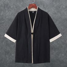 Samurai Clothing Cardigan Yukata Linen Men Kimono Traditional Japanese Chinese-Style