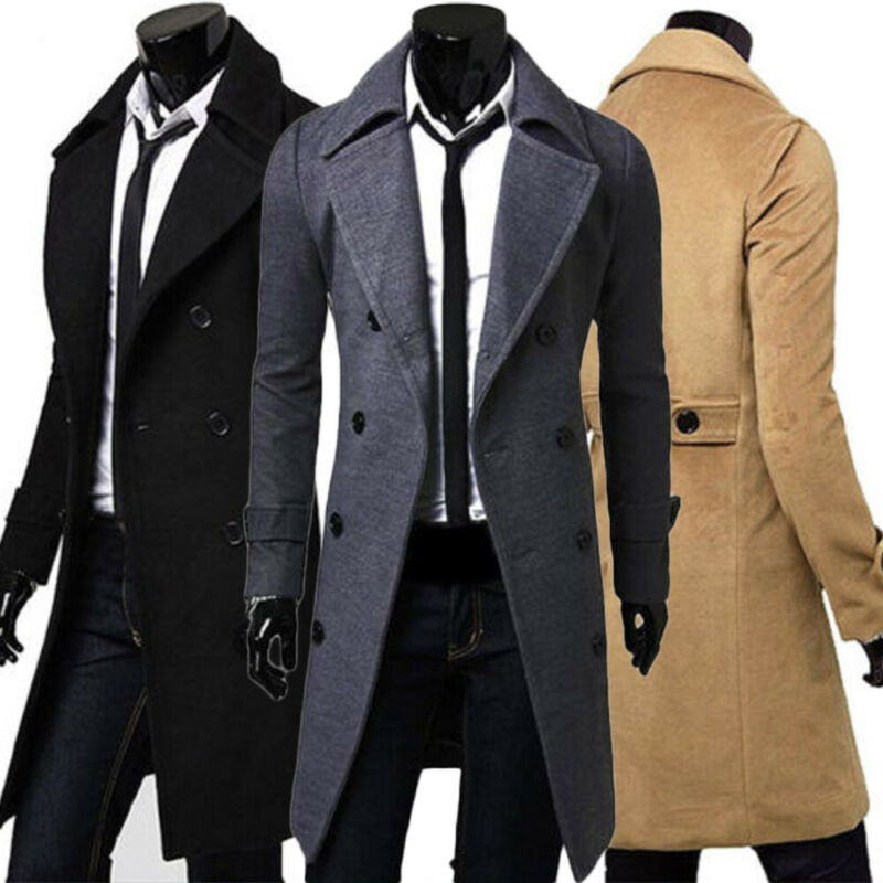 Men Jacket Coats Windbreaker Wool-Blends Male Long Casual Winter Button Warm Outwear title=