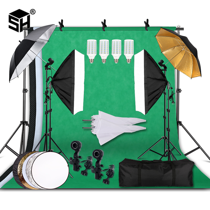 Professional Photography Lighting Equipment Kit with Softbox Soft Umbrella background stand Backdrops Light Bulbs Photo Studio title=