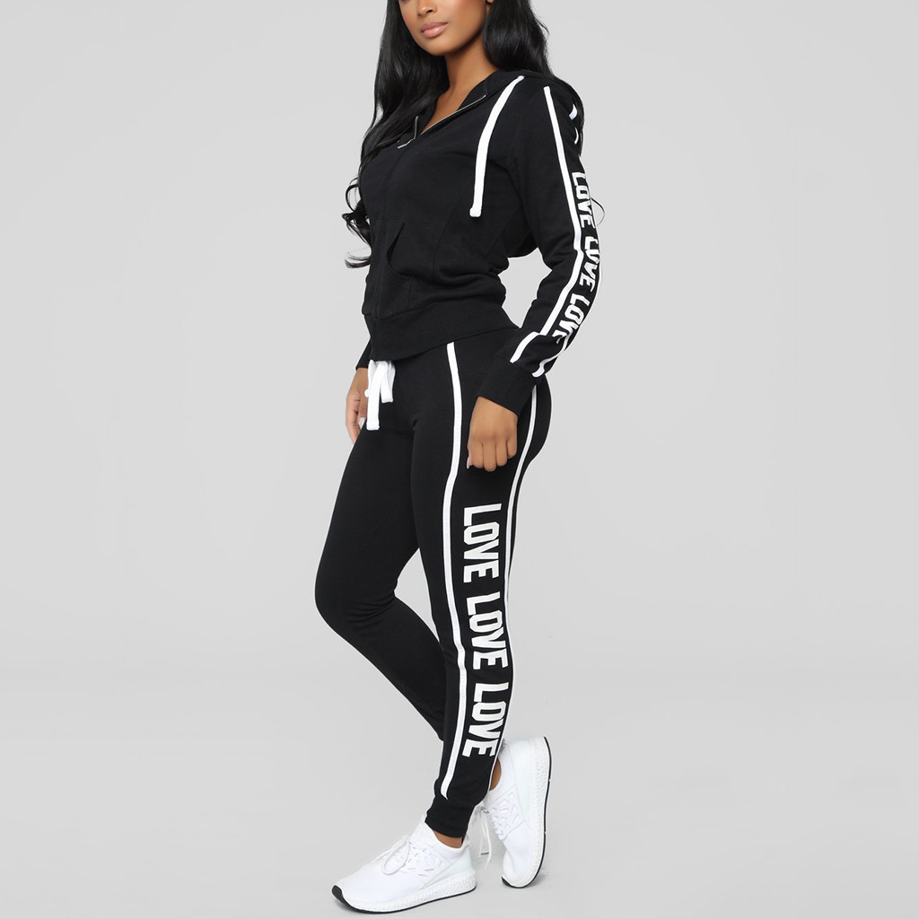 Long-Pants-Set Pullover Tracksuit Letter Sport-Tops Running Women Ladies Print Zipper title=