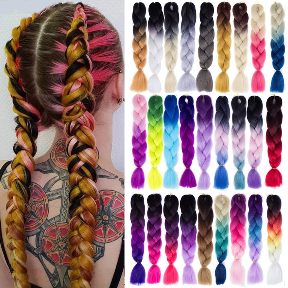 SHANGKE Hair-Extension Braiding Blonde-Color Pink White Purple Blue Ombre Synthetic Women title=