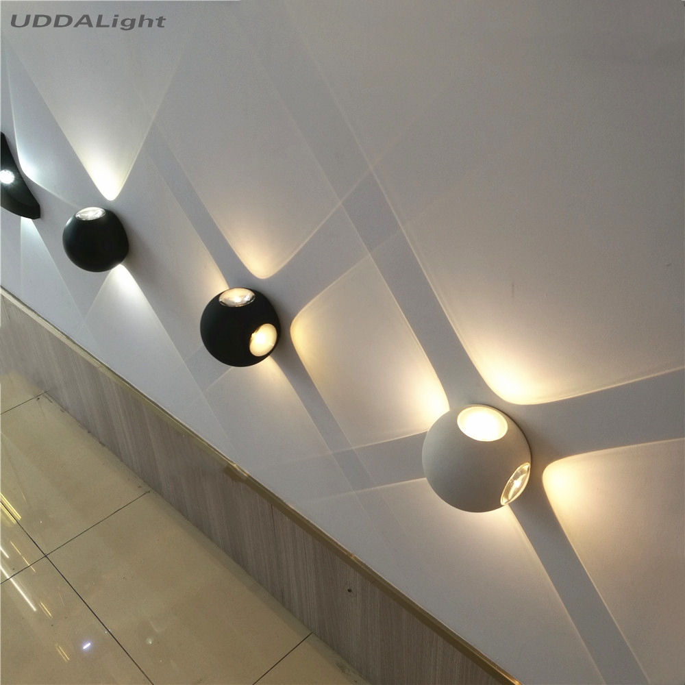 outdoor wall lamps 12w 6w 2 4side lighting cob led black white 110*95mm quality