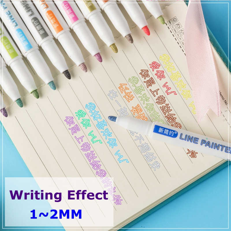 8/12 colors Double Lines Contour Art Pens Markers Pen Out Line Pen Highlighter Scrapbooking Bullet diary Graffiti Poster card
