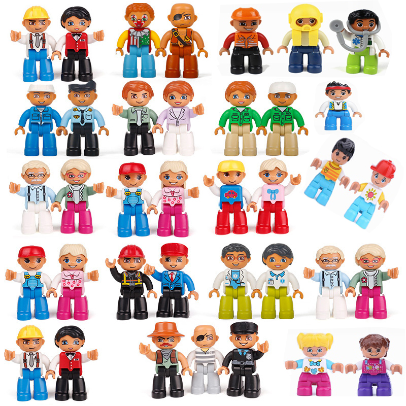 Legoing Duplo Figures Set Blocks Mom Dad Figurine Kids Toys Educational Model Compatible Legoing Duplo Diy Bricks Christmas Gift