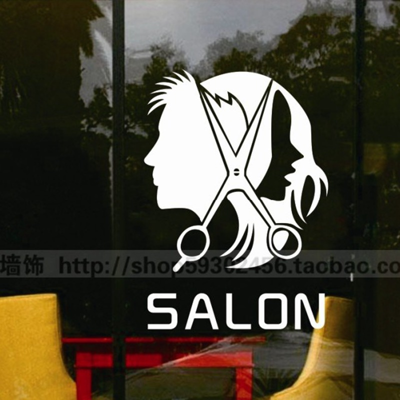 Sex Man Barber Girls Lady Hair Salon Tools Wall Sticker Hair Cutting Wall Decal Hairdressing Shop Window Decoration