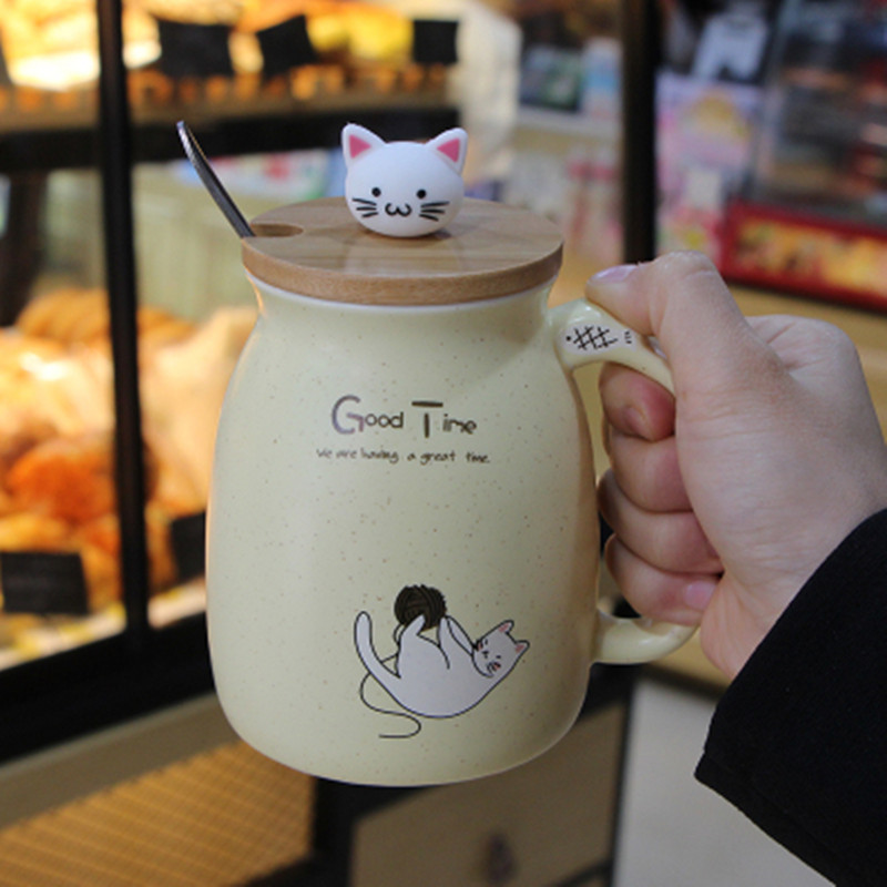 Creative Cartoon Ceramic Mug female student Office Home Personality Cute Drinking milk Breakfast Cup lid mark cup12 title=