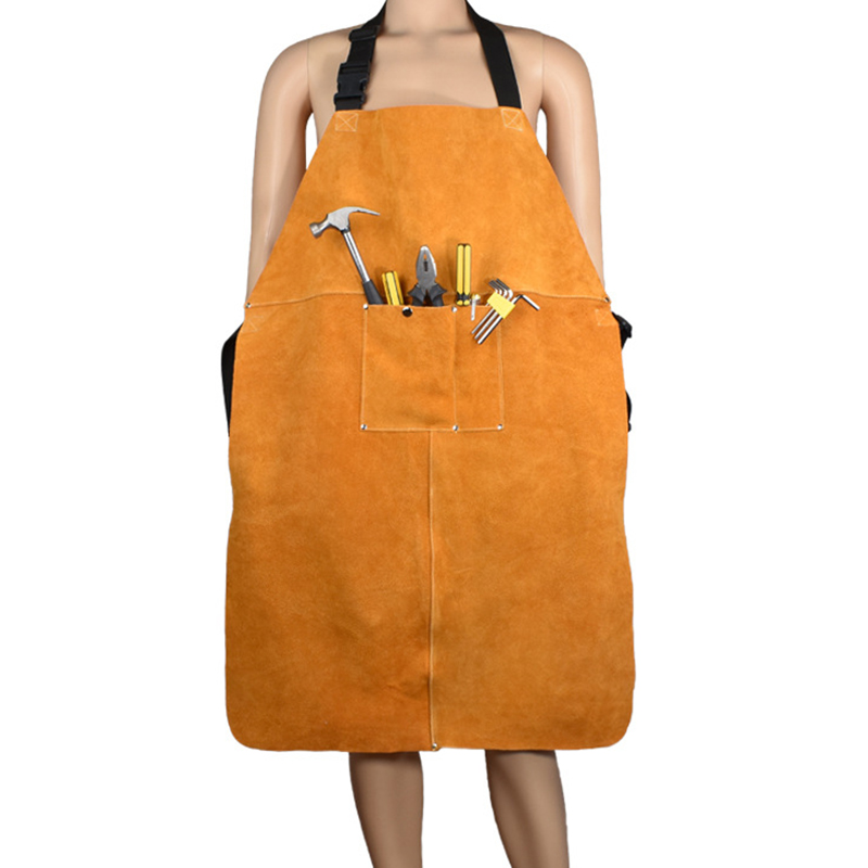 Leather Welding Protective Clothing Apron Thicken Electric Welding Protective Clothing with Pocket Wear-Resistant Anti-Scaldin