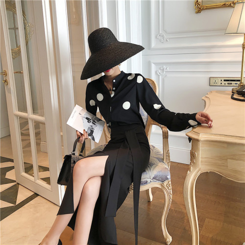 High Quality Women 2 Sets Clothing With Skirts Polka Dot Two Piece Set Top And Skirt Luxury 2 Piece Set Women Korean Skirt Set