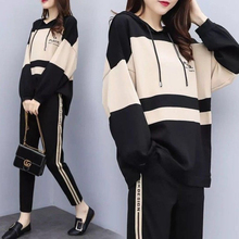 Casual Suit Hooded Plus-Size Pants Two-Piece Temperament Female WANYUCL Round-Neck Early-Autumn