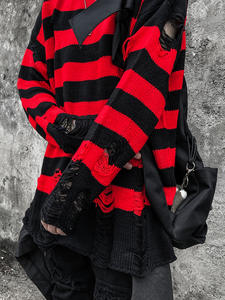 Sweaters Jumpers Men Oversized Striped-Hole Autumn Winter Clothing Knit Black Fashion