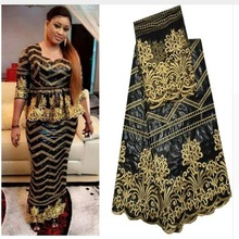 Lace Fabrics Embroidery Bazin Nigerian Beads Party-Dress Black Fashion New with