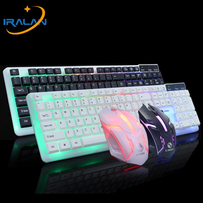 LED Backlight Wired USB Gaming Keyboard and 1600DPI Mouse Mice Set Kit 2 Colors