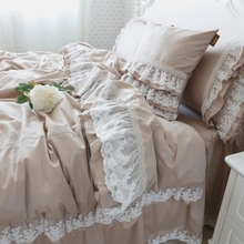 Pillowcase Bedspread Bedding-Set Duvet-Cover Bed-Sheet Embroidery Princess Luxury Lace