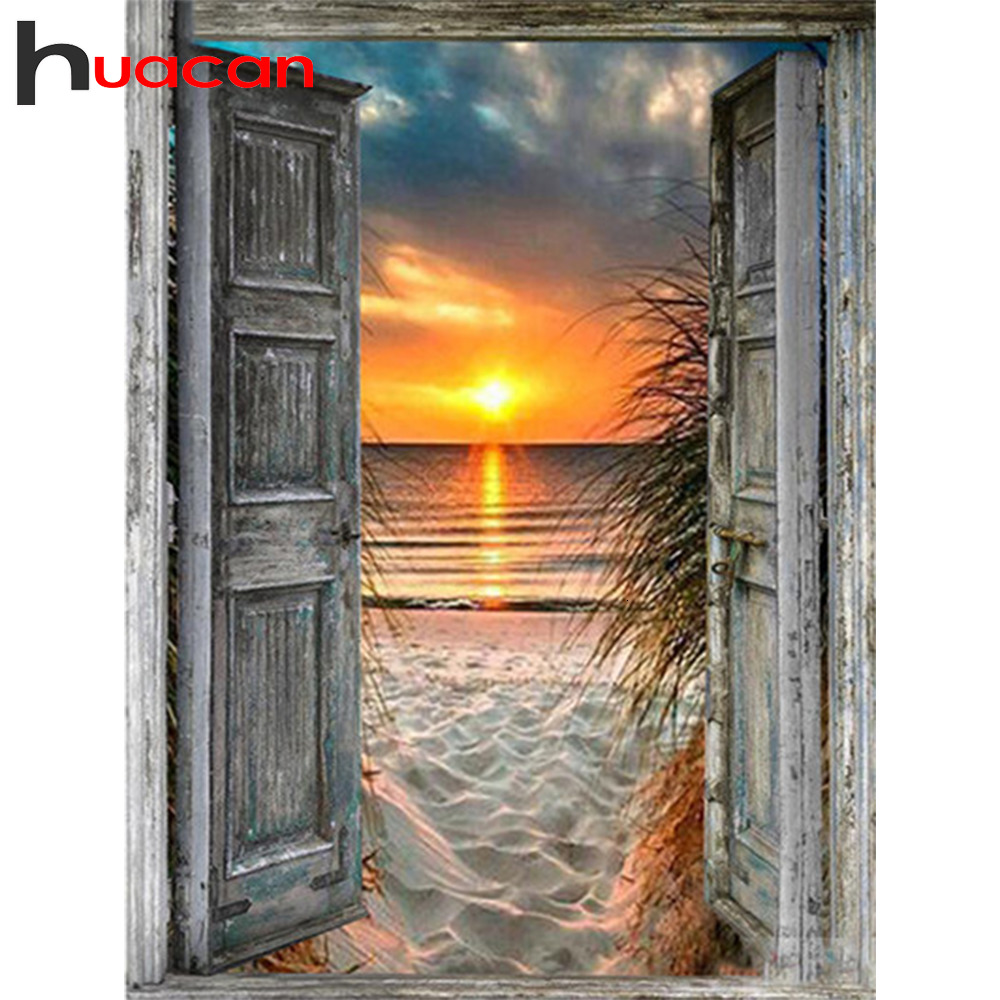 Huacan Diamond Painting Seaside-Decorations Mosaic Sunset Landscape Full-Square Home-Art title=