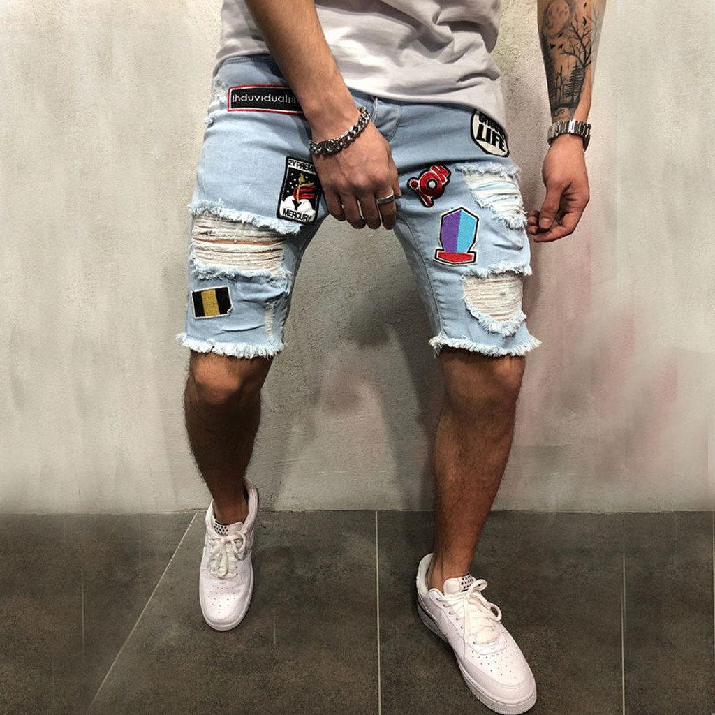 Jeans Destroyed Denim Shorts Distressed Bermuda Ripped Plus-Size Summer Men Cotton Pantalones title=