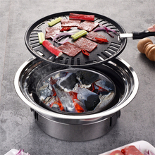 Barbecue-Grill Charcoal Stainless-Steel Outdoor Portable Korean Round Non-Stick