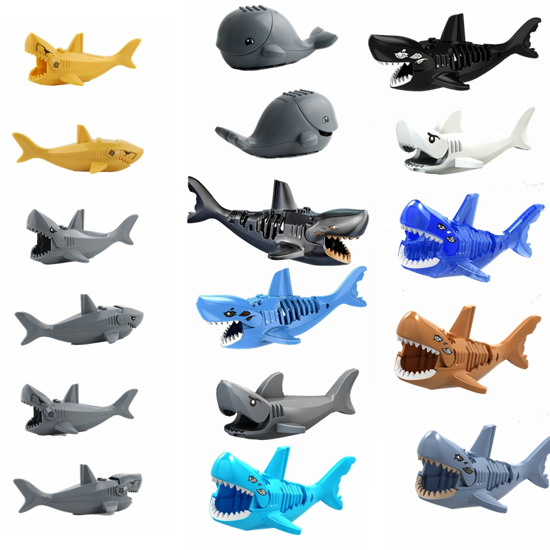 Legoing Sets Animal Transparent Blue Shark Whale Sharks Model Blocks Toy For Children Animals Legoings Kids Education Toys Gifts