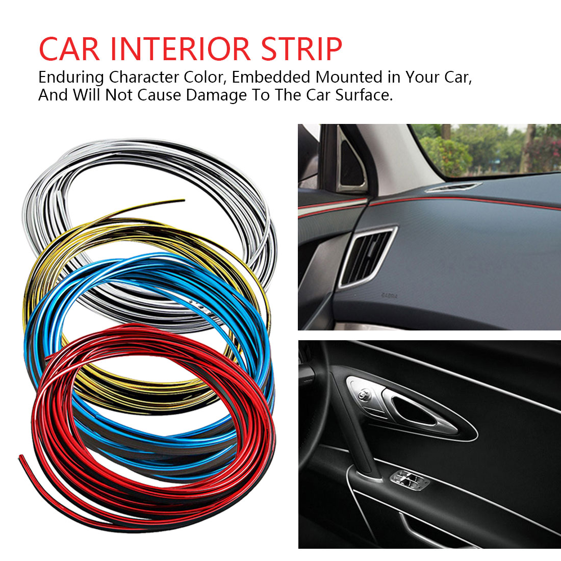 10 Meter 3D DIY Automobile Car motor Interior Exterior Decoration Moulding Trim Strip line Sticker-Blue