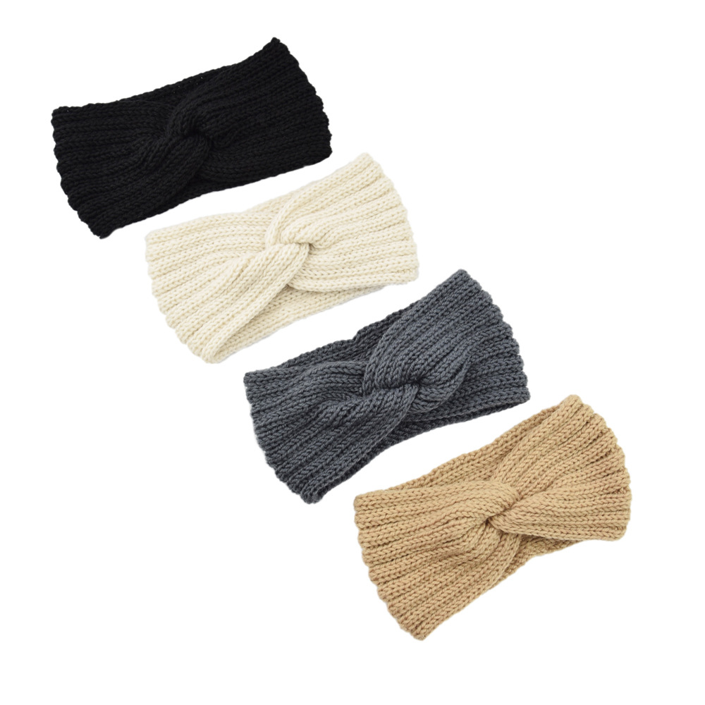 Multicolor forehead cross winter knit warm women headbands solid color ladies turban hair band headwear sports hair ribbons