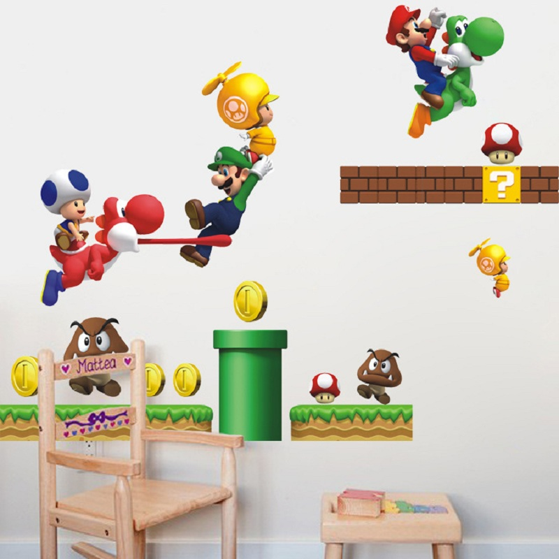Super Mario Bros Kids Removable Wall Stickers Decals kids room Home Decor Mural for Boy Bedroom Living Room Mural Art