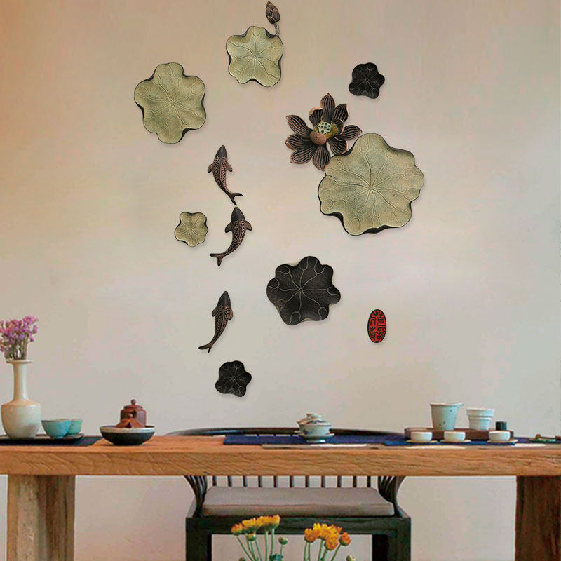 Chinese Resin Lotus Fish Wall Hanging Decoration Home Livingroom Background Wall Mural Ornaments Restaurant Wall Sticker Crafts