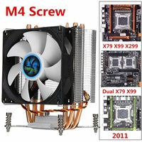 CPU Cooler Cooling 4 Copper Heatpipe Fan Radiator 90mm 3Pin CPU Cooler Fan Cooling Heatsink for Intel LGA 2011 X79 X99 299