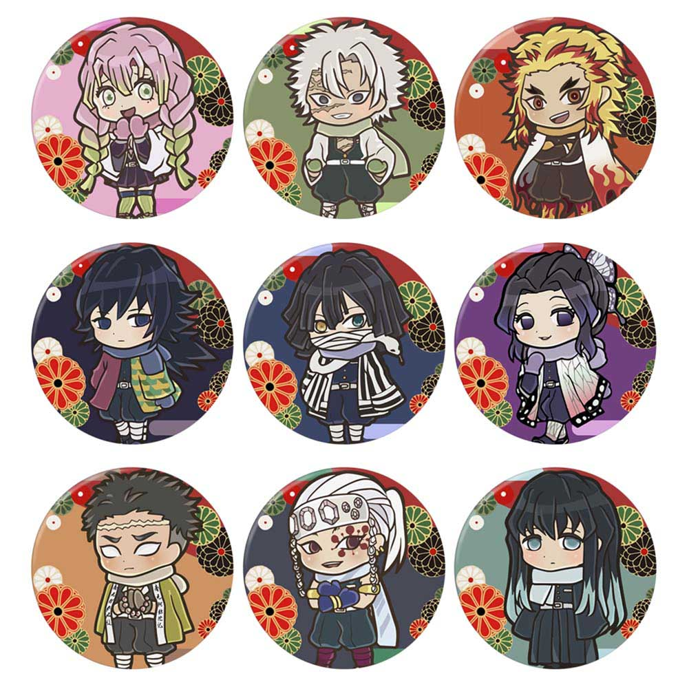 4-9pcs Demon Slayer Anime Character Cartoon Round Tinplate Collect Backpacks Bags Button Badge Brooch Pin