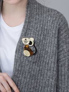 Blucome Animal Brooch Pin Hijab Mouse-Series Icon Acrylic Black Cartoon Badge Flannel