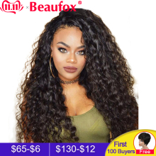 Beaufox Wigs Human-Hair-Wigs Hairline Lace-Front Water-Wave Natural Brazilian Preplucked