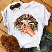 Tees Shirt Short-Sleeve Street-Tops Lips Leopard Harajuku Korean Fashion Summer Maycaur