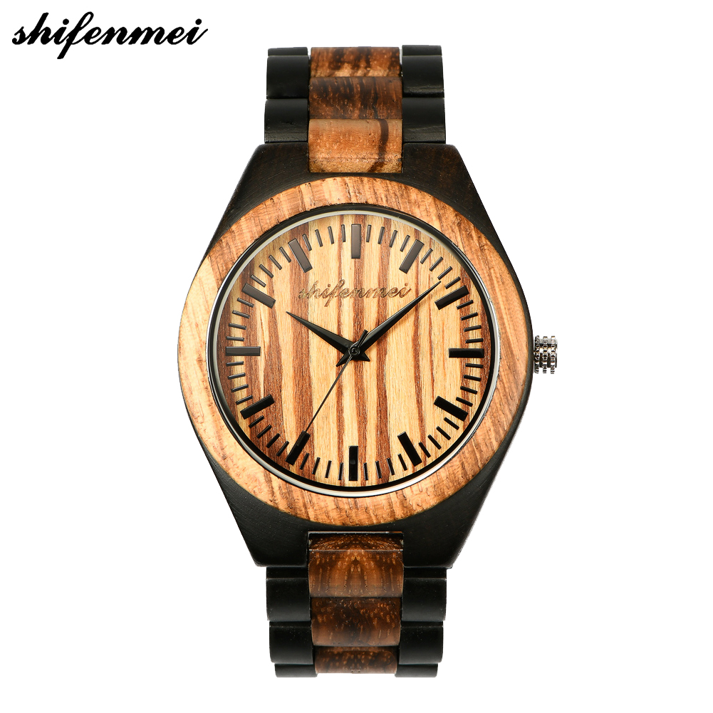 shifenmei S5533 engraved Wooden Bracelet Watch Men High Quality Wristwatch Antique Vintage European Fashion wood male female