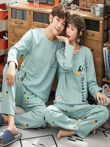 Couple Pajamas Winter Full-Sleeve Cotton Women Cartoon for Sleepwear-Sets Mujer XXXL