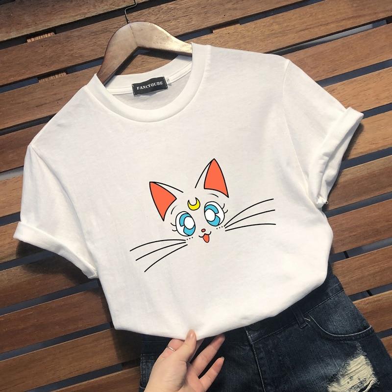 Sailor Moon 90s Tee Harajuku clothes Tshirt Aesthetic cat Anime Women Cute Female T-shirt Kawaii Tees Fashion Ullzang