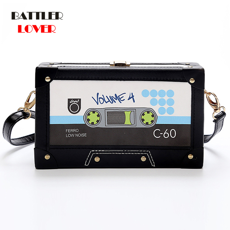 Personality Tape Cassettes Evening Clutch Bag Women Hard Box Clutch High-end Hand Bag Small Party Purse Shoulder Bag Flap Single