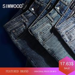 Мужские классические джинсовые брюки SIMWOOD, повседневные прямые джинсовые брюки из денима высокого качества, 3 цвета в наличии, джинсы класси...