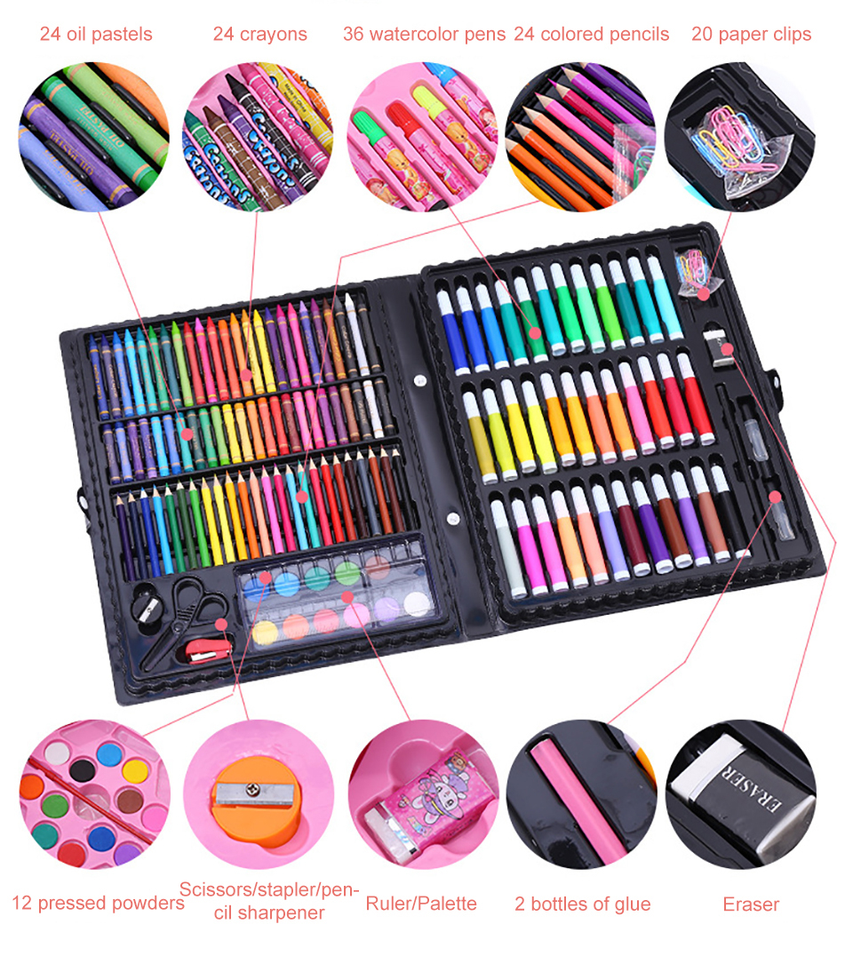 208 Pcs Art Marker Brush Pen Set Watercolor pen Drawing Children Paint Art Set Tools For Kid Gift Box School Stationery Supplies