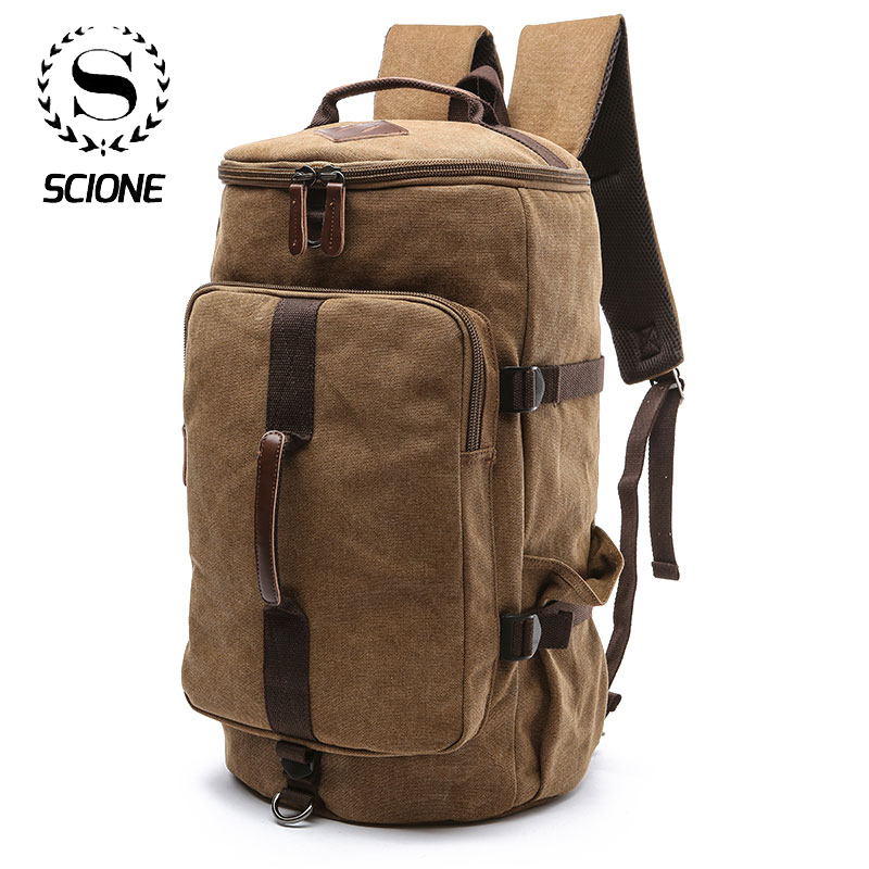 Scione Backpacks Luggage Shoulder-Bags Duffle Cylinder Canvas Casual-Case Travel Waterproof title=