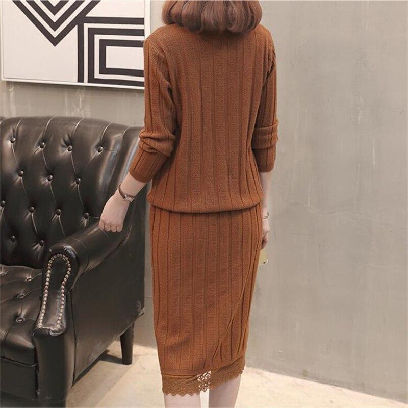 2020 Spring New Turtleneck Sweater Women Skirt Set Fashion Two Piece Set Women Lace Side Knit Sweater Pullover Skirt Set D3337