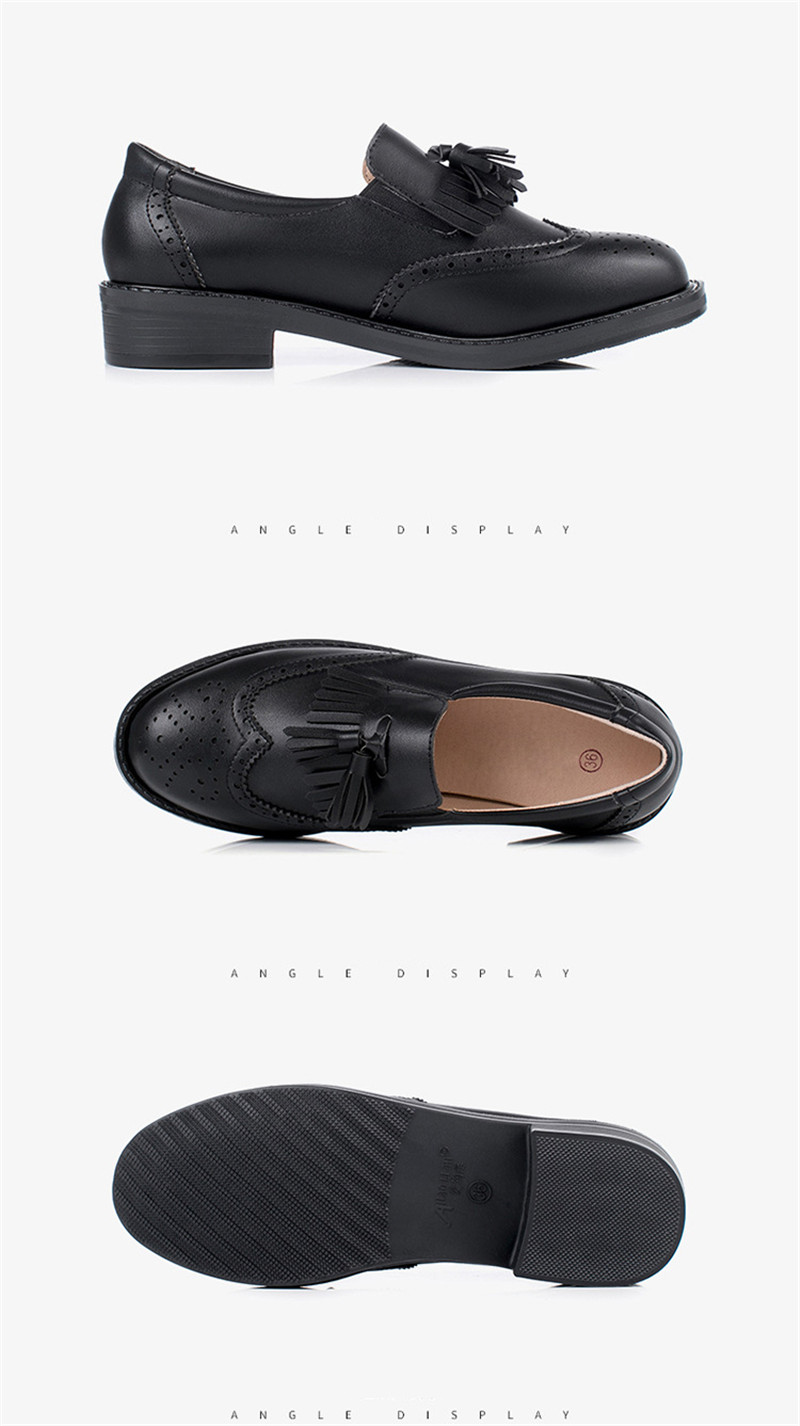 New British Carved Oxford Shoes For Woman Korean College Slip On Student Flats Brogues Shoes Retro Tassel Casual Women's Loafers (13)