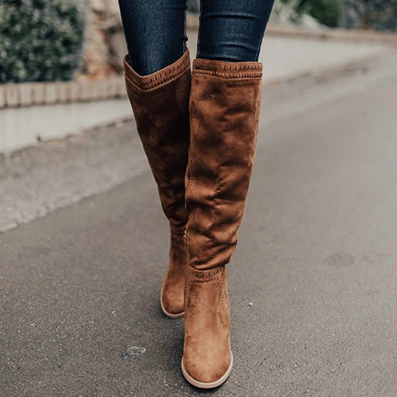 2019 Women Over The Knee High Boots Hoof Heels Winter Shoes Pointed Toe Sexy Elastic Fabric Women Boots Size 35-43