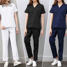 Pants Clothing Scrubs-Set Workers-Uniform Women Health Beautician Unisex 2pcs Tops