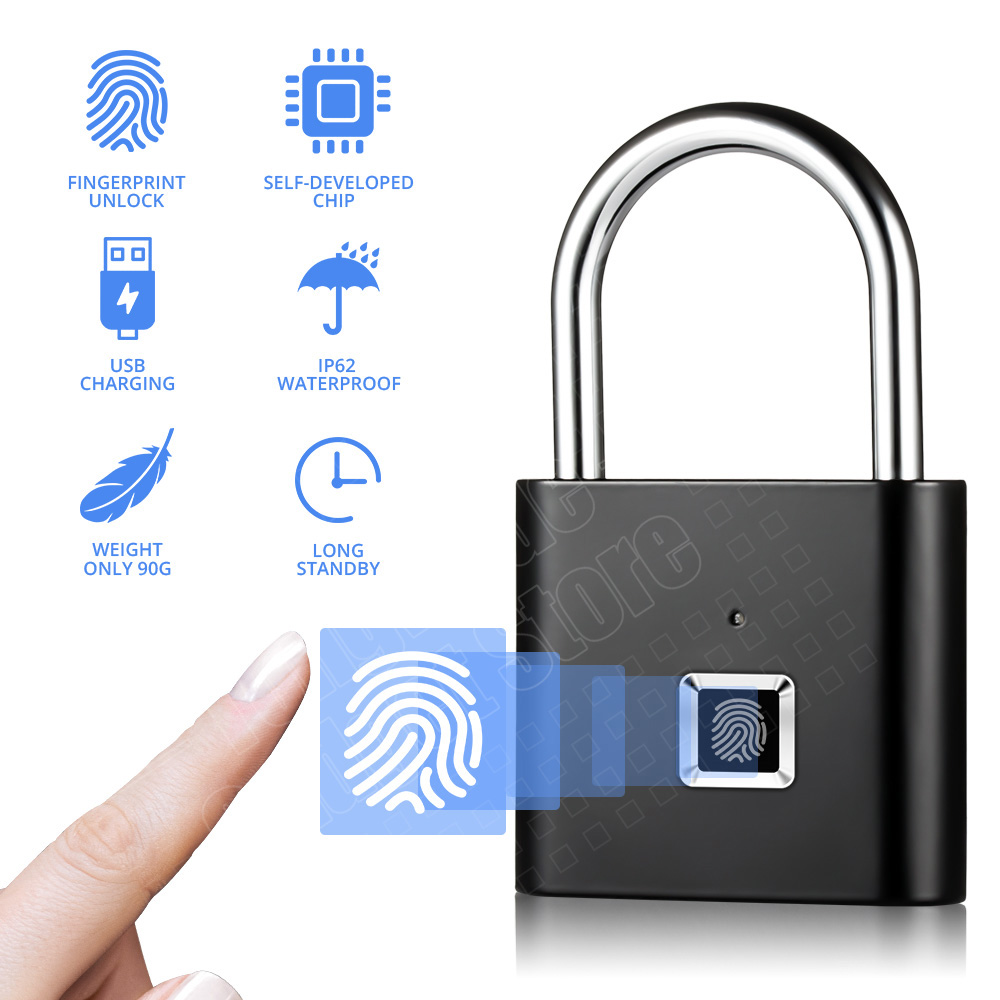 Keyless Fingerprint Lock USB Rechargeable Intelligent Fingerprint Padlock Quick Unlock Anti-theft Safety Security Padlock Drawer title=
