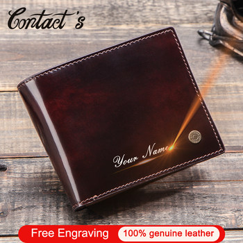 Contact's Brush-off Cow Leather Men Wallet Small Coin Purse Card Holder Wallets Vintage Male Money Bag Personality Gift for Man