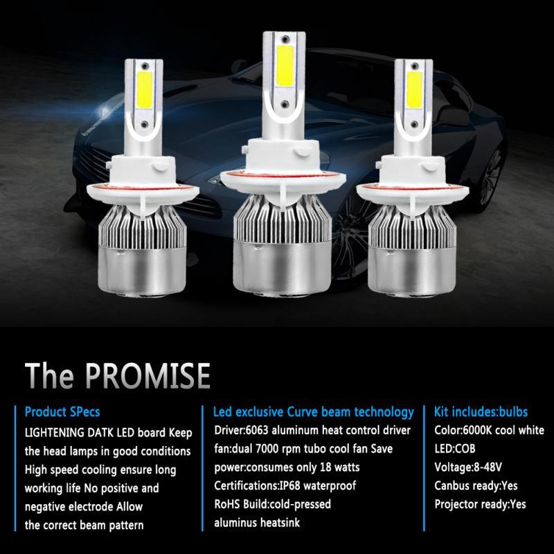 H13 9008 C6 LED Headlight Conversion Kits Bulbs Hi//Low Beam High Power 6000K GB