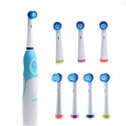 Электрическая вращающаяся зубная щетка AZDENT, с 8 головками, на батарейках, отбеливающая зубная щетка, уход за полостью рта