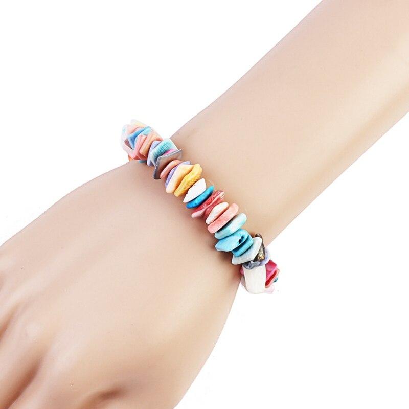 Multicolor Puka Shell Bracelet For Women Bohemia Girls Seashell Statement Adjustable Cord Bracelet