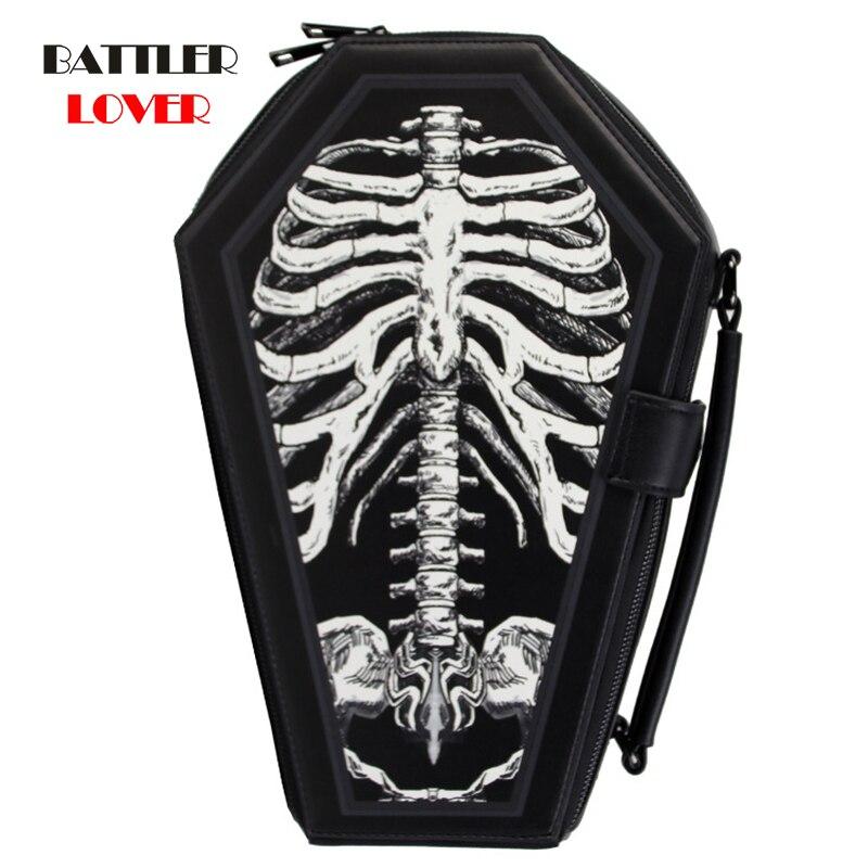 Skull Cross Shoulder Bags Gothic Women Punk Cosplay Handbags Messenger Crossbody Bag Ladies Halloween Top-Handle Back Pack