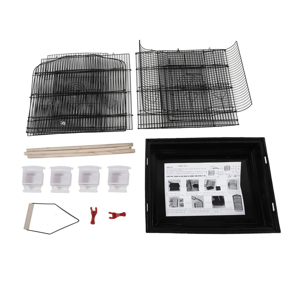 """Computer - 37"""" Bird Parrot Cage Canary Parakeet Cockatiel LoveBird Finch Bird Cage with Wood Perches & Food Cups Black"""