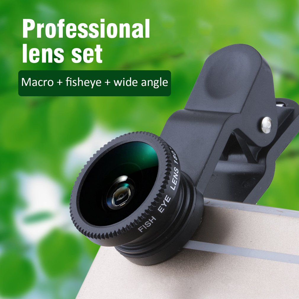 Camera-Lens-Set Phone Macro Fish-Eye Tablet Clip-On Wide-Angle 3-In-1  title=