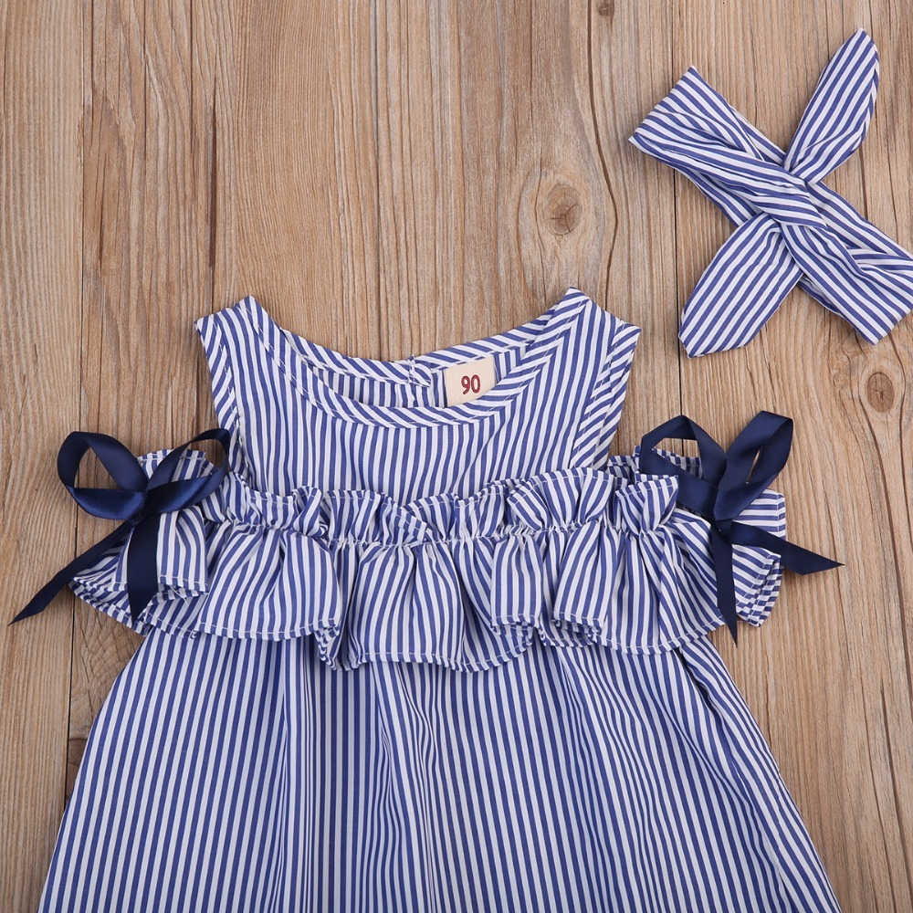 2018-new-Hot-Summer-Toddler-Kids-Baby-Girls-lovely-Clothes-Blue-Striped-Off-shoulder-ruffles-Party (2)